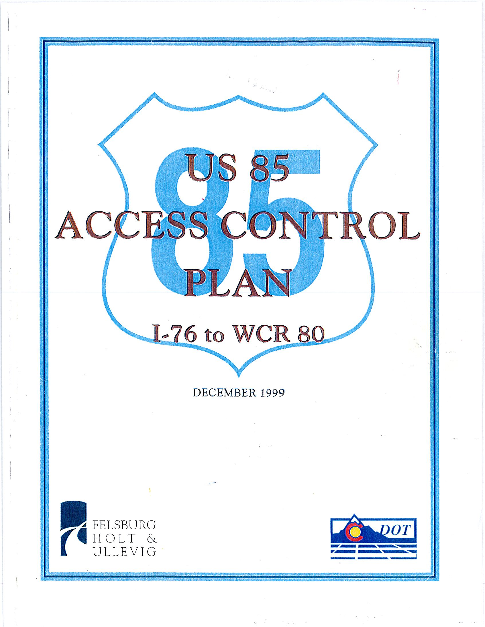 US 85 Access Control Plan Cover
