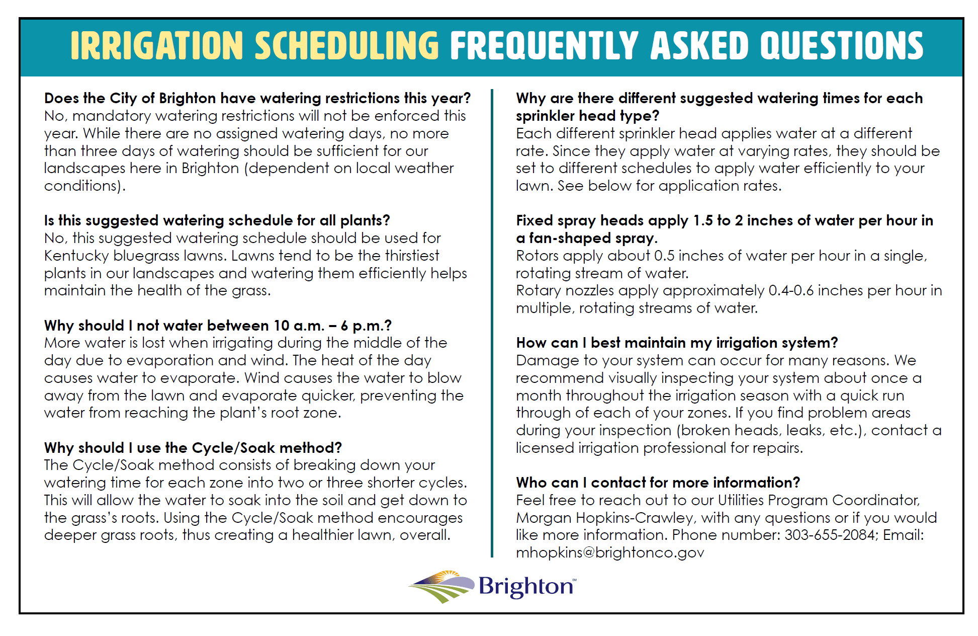 Irrigation Schedule FAQs